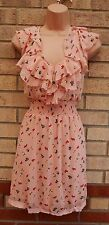 NEW LOOK PEACHY PINK FLORAL MULTICOLOR RUFFLE FRONT CROCHET TRIM A LINE DRESS XL