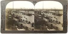 Keystone Stereoview Harbor & Boats, Hamburg, GERMANY from 1910s Education Set #B