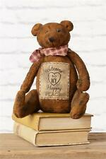 Primitive new small dark distressed decor BEAR / Welcome To My Happy Place