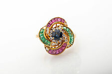 Vintage $4000 3ct Natural Blue Sapphire Ruby Emerald Diamond 18k Gold Ring