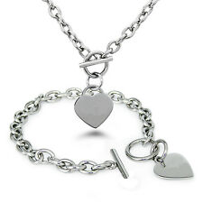Fashion Silver Stainless Steel Heart Pendant Womens Chain Bracelet Necklace Set