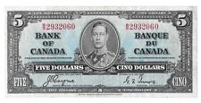 1937 Issue George VI Canadian Five Dollar Bill