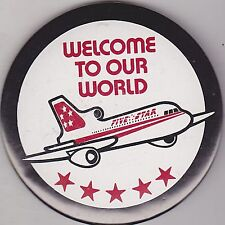 """VINTAGE 3"""" PINBACK #25-094 - AIRLINES - AVIATION - FIVE STAR OUR WORLD #2"""