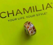 Autentico Chamilia 925 Scintillanti AMBRA SPIRALI VETRO DI MURANO Bracciale Charm Bead