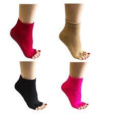 Womens Yoga Pilates Non Slip Five Toe Socks, 4 Pairs (Shoe sizes 6-10) (JL)
