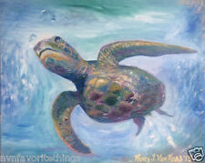 "Sea Turtle 8""x10"" oil painting print Framable Signed Art NEW by Artist"