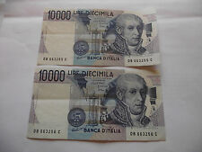 ITALY. 2 CONSECUTIVE NOTES@10000 LIRE. ALMOST UNC (1984)