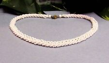 Vintage MIRIAM HASKELL Braided White Milk Glass Seed Bead Choker Necklace