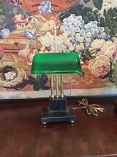 Vintage Banker Emerald Green Case W/ Marble Base Desk Lamp Excellent Condition