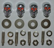 "4 Metal Chrome ""Skull"" Motorcycle License Plate Frame Bolts - Lic Tag Screws"