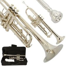 New Silver Student Concert Bb Trumpet w/ Case Mouthpiece for Beginner