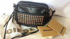 DIESEL BLACK LEATHER MINI STUDDED HANDBAG Dust bag card NWT
