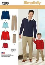 SIMPLICITY SEWING PATTERN BOYS' & MEN'S CLASSIC TROUSERS KNIT SHIRT 1286