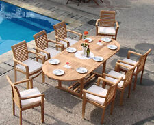 """Sam A-Grade Teak 9pc Dining 94"""" Mas Oval Table 8 Stacking Arm Chair Set Patio NW"""