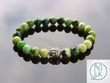 Buddha Chrysoprase Natural Gemstone Bracelet 7-8'' Elasticated Healing Stone