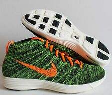 NIKE LUNAR FLYKNIT CHUKKA BLACK-TOTAL ORANGE-GREEN SZ 11 [554969-080]