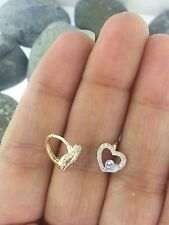 14K Yellow Gold Two Tone Diamond Kids Baby Children's Heart Huggies Earrings