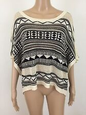 Azul By Moussy Sweater Geometric Pattern Black Cream Size Small Butterfly Sleeve