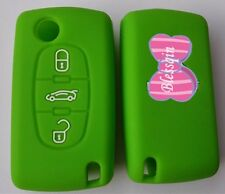 GREEN SILICONE 3 BUTTON FLIP CAR KEY COVER CASE for PEUGEOT 307 308 407 408
