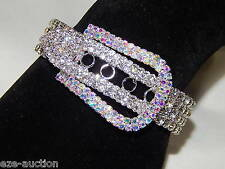 Wedding Silver W.Clear, AB Iridescent Rhinestone Belt Buckle Bracelet Adjustable