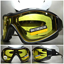 MOTORCYCLE BIKER Day Night Riding Yellow Lens PADDED SUN GLASSES SAFETY GOGGLES