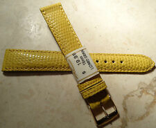 ZRC Made in France Yellow Lizard Grain 16mm Watch Band Gold Tone Buckle $19.95