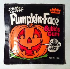 Vintage 1986 Fleer PUMPKIN FACE Bubble Gum Pack halloween candy container 1980's