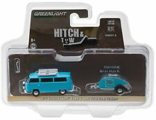 1:64 GreenLight *HITCH & TOW 8* Blue 1972 VW Volkswagen Type 2 w/TEARDROP CAMPER