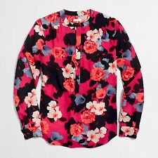 NWT J.CREW Women's Rasberry Loose-fit Henley Blouse Small S (MSRP $78)