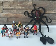 Playmobil Figure LOT Knights Pirates Egyptian 11 Figures Octopus