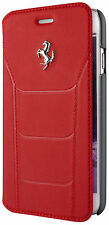 FERRARI 488 autentica in vera pelle per iPhone 7 PLUS BOOK CASE Logo Rosso Argento