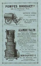 POMPES BROQUET ALAMBIC VALYN CHOCOLAT MENIER PUBLICITE 1886