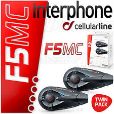 INTERPHONE F5MC TWIN PACK INTERCOM WATERPROOF BLUETOOTH 3.0 FOR ALL HELMET TYPE