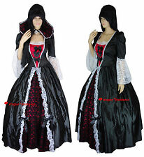 Medieval Gothic Evil Queen Vampiress Game Thrones Dress Gown Costume -M 10-12-14