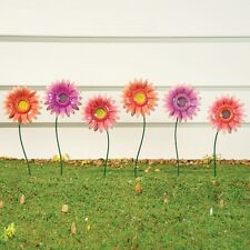 Set of 6 Colorful Gerbera Daisy Flowers Metal Garden Statue Stakes Yard Decor