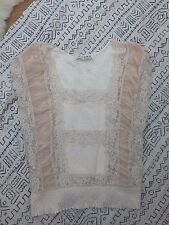 FREE PEOPLE Blouse Shirt Top Womens M Medium Light Pink Cap Sleeve Floral Lace