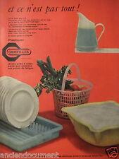 PUBLICITÉ 1957 GROSFILLEX PANIER , EGOUTTOIR ET BASSINE PLASTIQUE