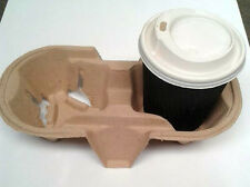 90 x 2 Cup Cardboard  Holder Tray Pulp Fibre Moulded Hot/Cold Drinks Carrier
