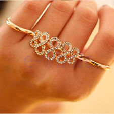 1x Adjustable Gold Crystal Infinite Infinity Two Double 2 Finger Ring Jewelry HM