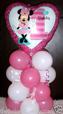 """18"""" FOIL BALLOON TABLE DECORATION DISPLAY MINNIE MOUSE 1ST BIRTHDAY AGE 1 Heart"""
