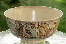 Antique Japanese Handpainted Bowl Gild Oriental Very Old Japan Painting of Men
