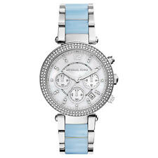 **NEW* LADIES MICHAEL KORS  BLUE CRYSTAL PARKER TWO-TONE WATCH MK6138 -RRP £259