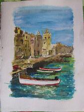 Acquerello '900 su carta Watercolor-Paesaggio di città di mare-anonimo (100)