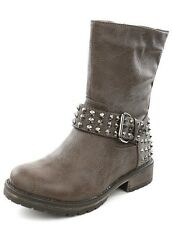 Women's Stone Gray Spike Studded Belt Ankle Boots Size 7.5