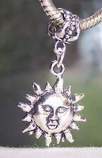 Sun Face Rays in Splendour Father Symbol Dangle Bead for European Charm Bracelet