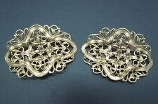 Vintage Signed MUSI Fancy Metal Gold Tone Floral Motif Shoe Buckles Clips