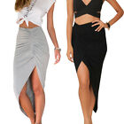 Women High Waisted Asymmetric Stretch Ruched Skirt Party Mini Bodycon Dress HOT