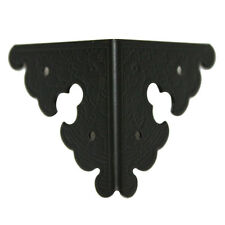 Pack of 4 BLACK Table Cabinet Decor 34x34mm Square Edging Corner Plate 2 Sides