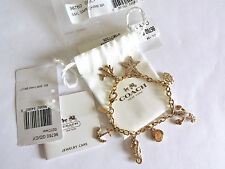 Coach Ocean Seahorse Lobster Starfish Mix Charm Pave Crystal Bracelet NWT***RARE