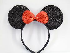 MINNIE MOUSE EARS Headband Black Sparkle Shimmer -- Red Sequin Bow Mickey